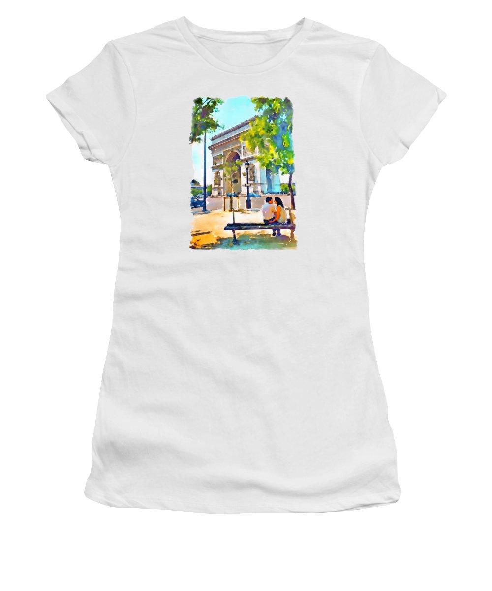 Arch Of Triumph Women's T-Shirt featuring the painting The Arc De Triomphe Paris by Marian Voicu