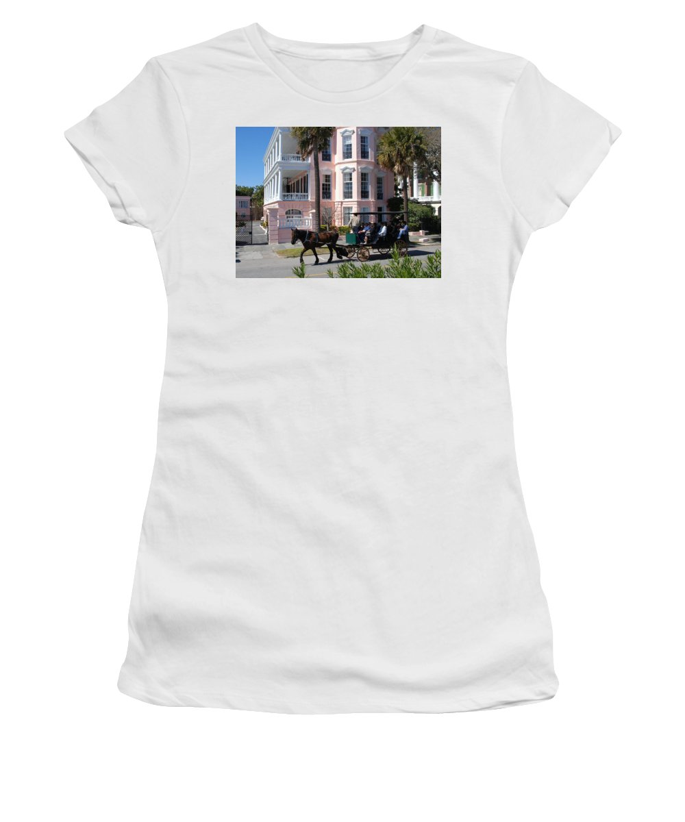 Photography Women's T-Shirt (Athletic Fit) featuring the photograph The Battery In Charleston by Susanne Van Hulst