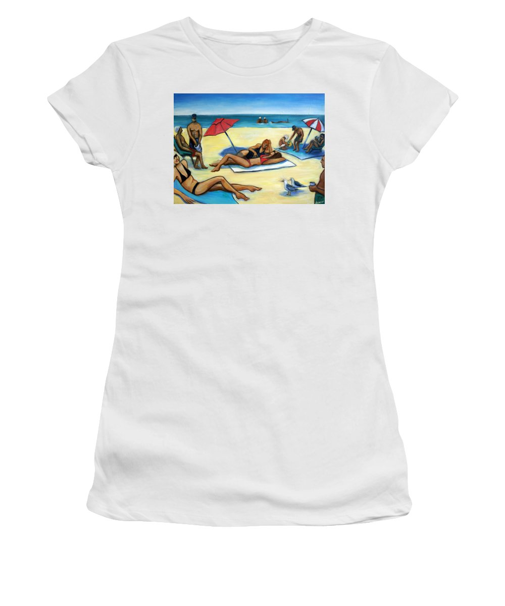 Beach Scene Women's T-Shirt featuring the painting The Beach by Valerie Vescovi