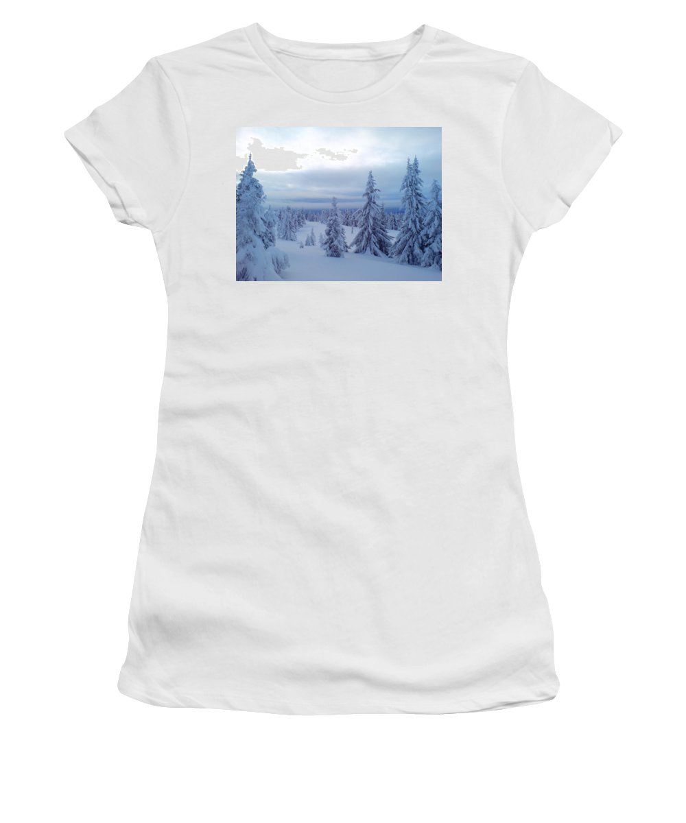 Trees Women's T-Shirt (Athletic Fit) featuring the photograph The Blue Hour by Are Lund