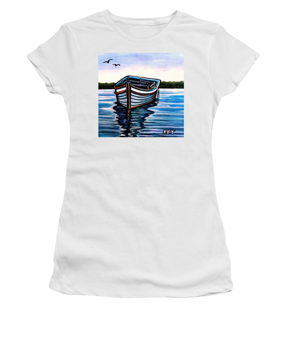 Blue Women's T-Shirt (Athletic Fit) featuring the painting The Blue Wooden Boat by Elizabeth Robinette Tyndall