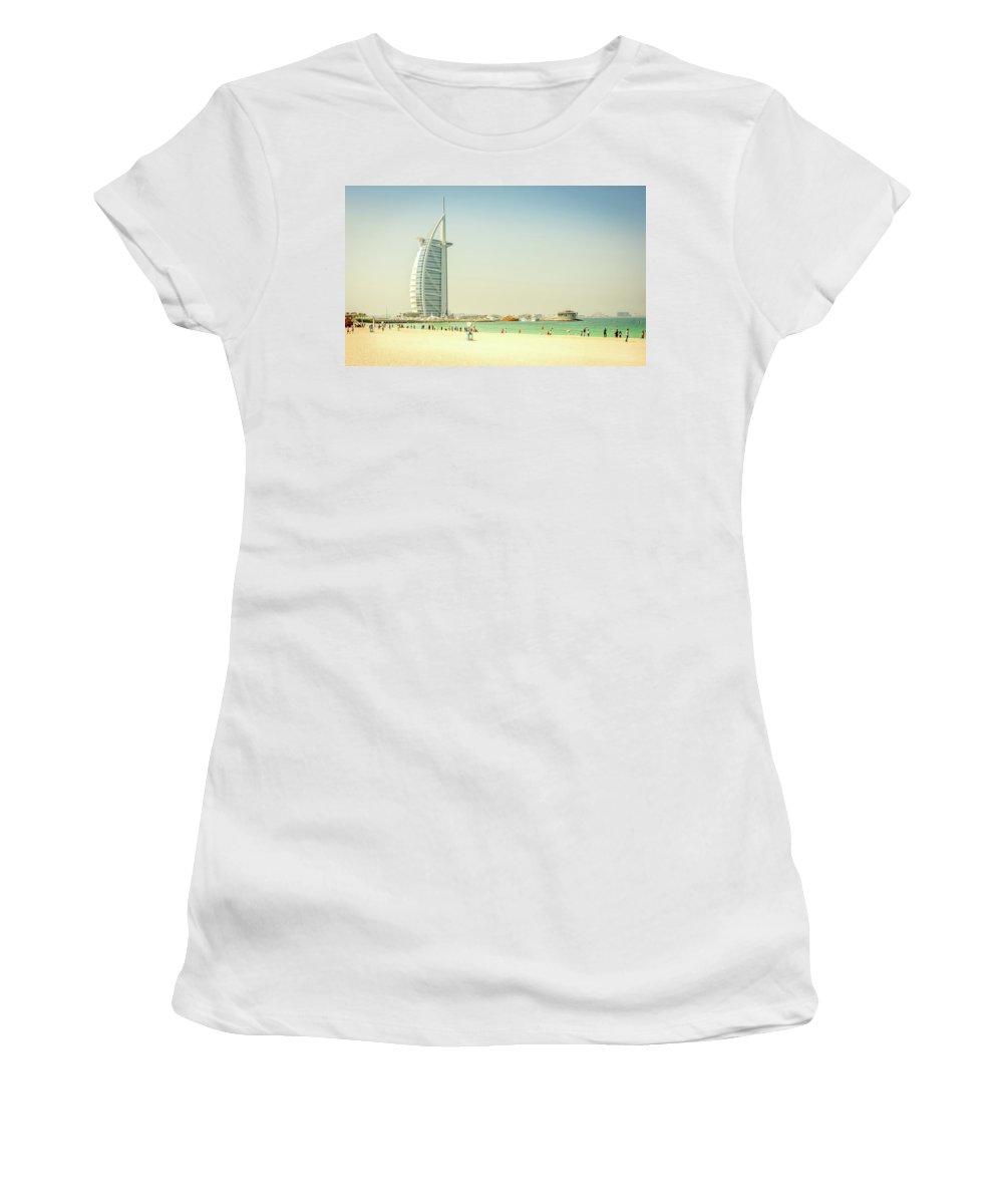 Dabai Women's T-Shirt featuring the photograph The Burj Al Arab by Andrew Matwijec