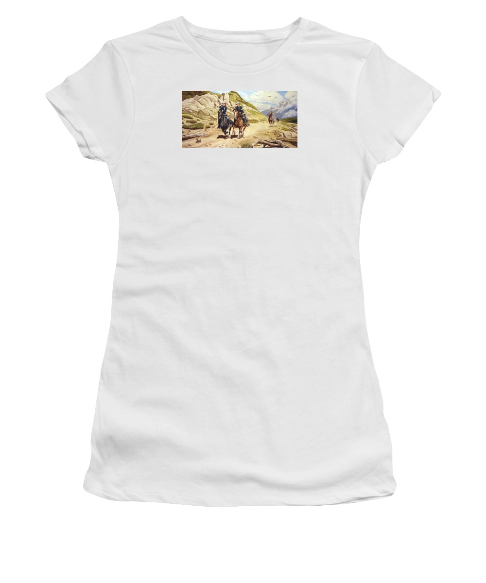 Western Women's T-Shirt featuring the painting The Chase by Marc Stewart