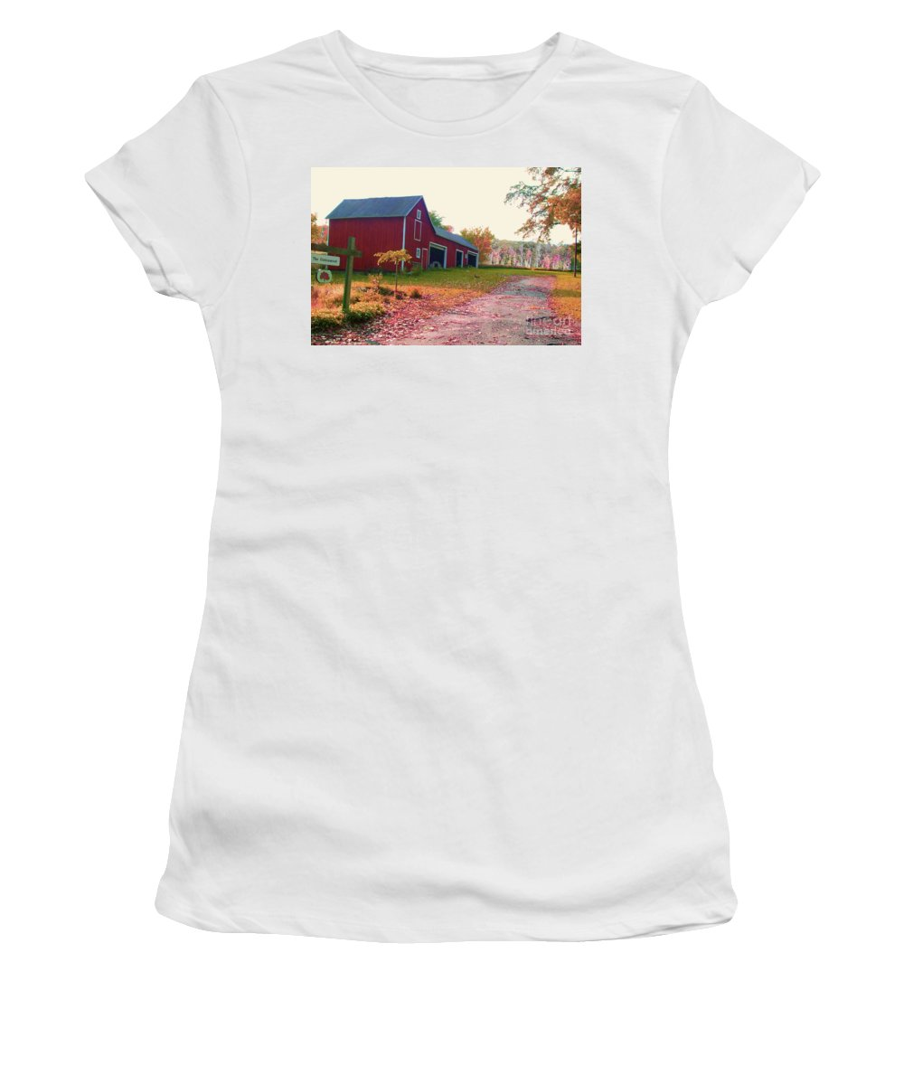 Fall Women's T-Shirt (Athletic Fit) featuring the mixed media The Cottonwood In Fall by Desiree Paquette