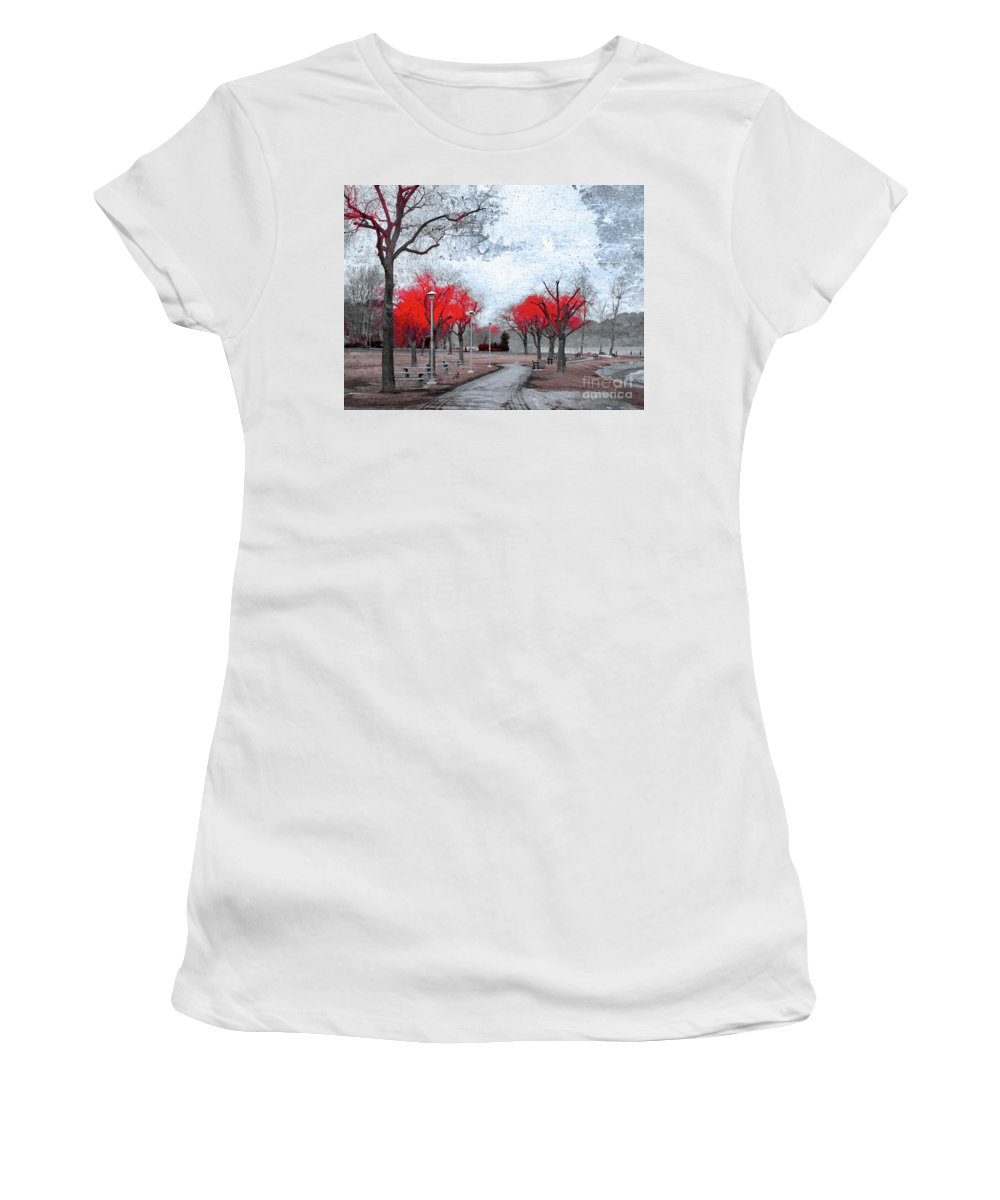 Trees Women's T-Shirt (Athletic Fit) featuring the photograph The Crimson Trees by Tara Turner