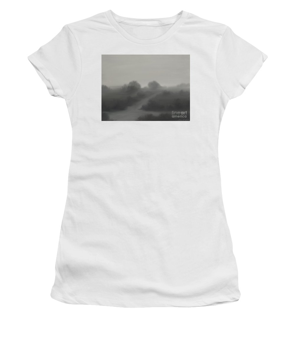 Landscape Women's T-Shirt (Athletic Fit) featuring the painting The Crossroads by James Christopher Hill
