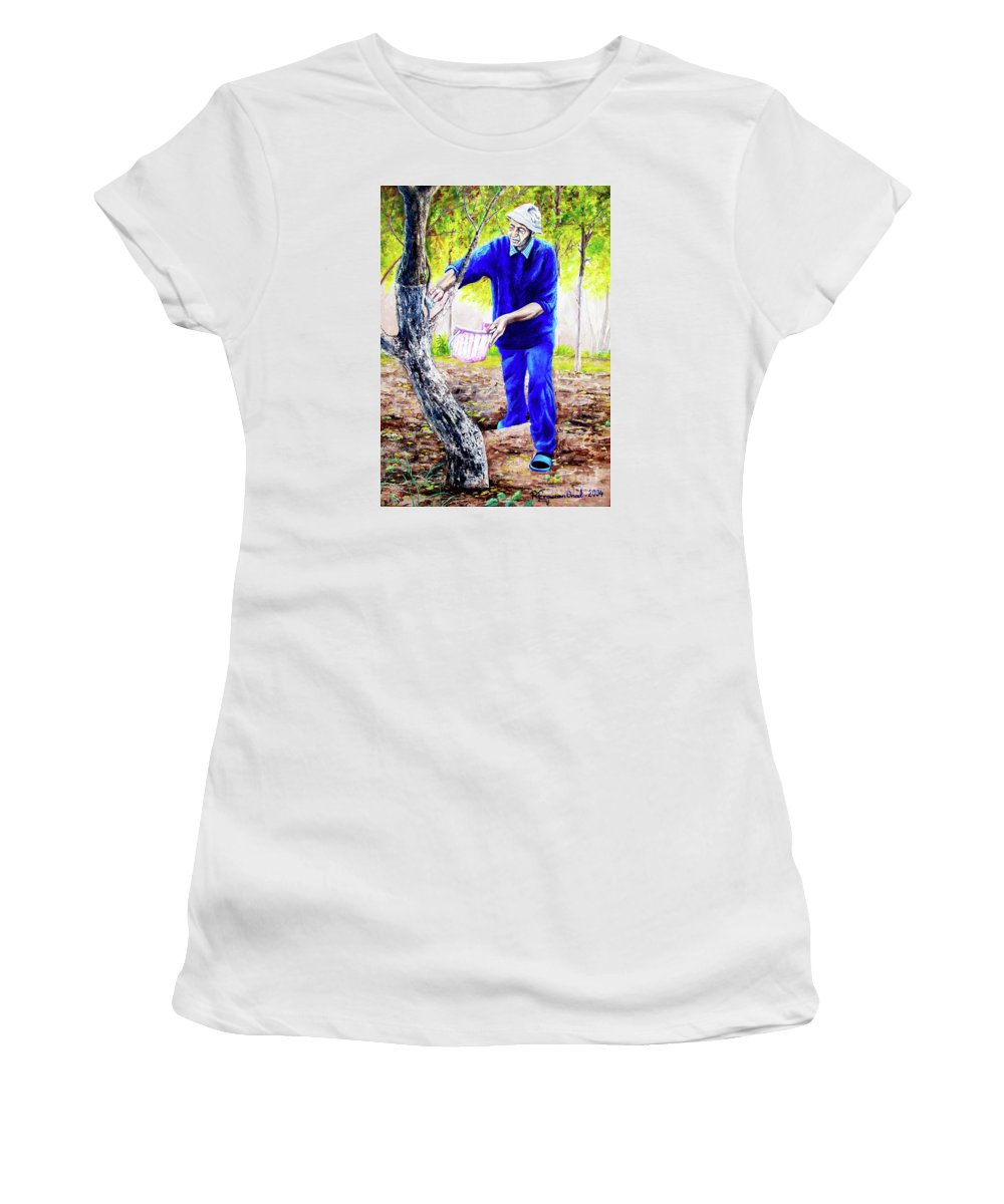 Daddy Women's T-Shirt (Athletic Fit) featuring the painting The Cure - La Cura by Rezzan Erguvan-Onal