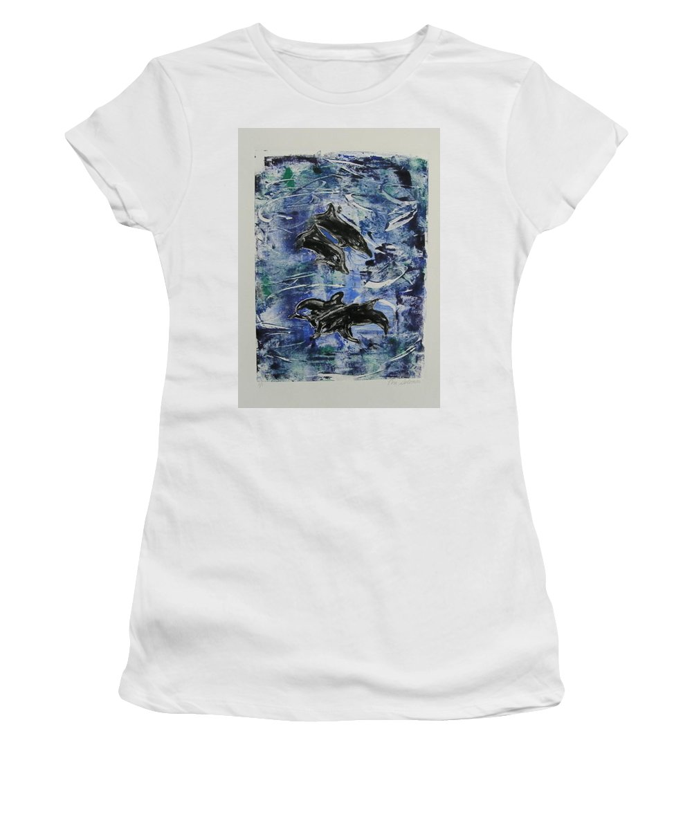 Monotype Women's T-Shirt (Athletic Fit) featuring the mixed media The Deep Sea by Cori Solomon