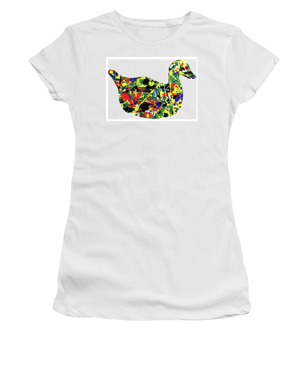 Abstract Women's T-Shirt featuring the painting The Duck by Ducksy
