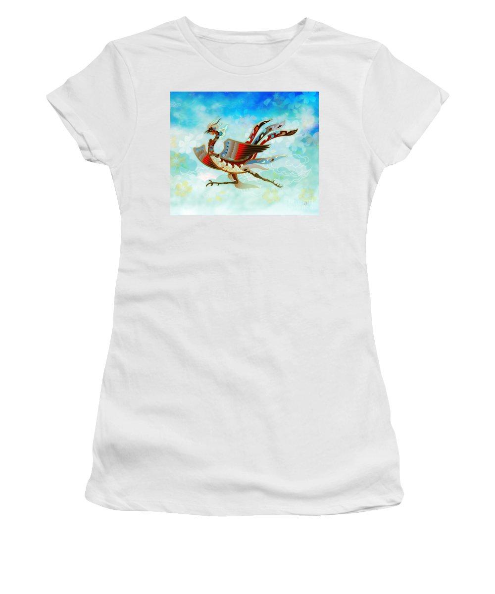 Bird Women's T-Shirt featuring the digital art The Empress - Flight Of Phoenix - Blue Version by Peter Awax