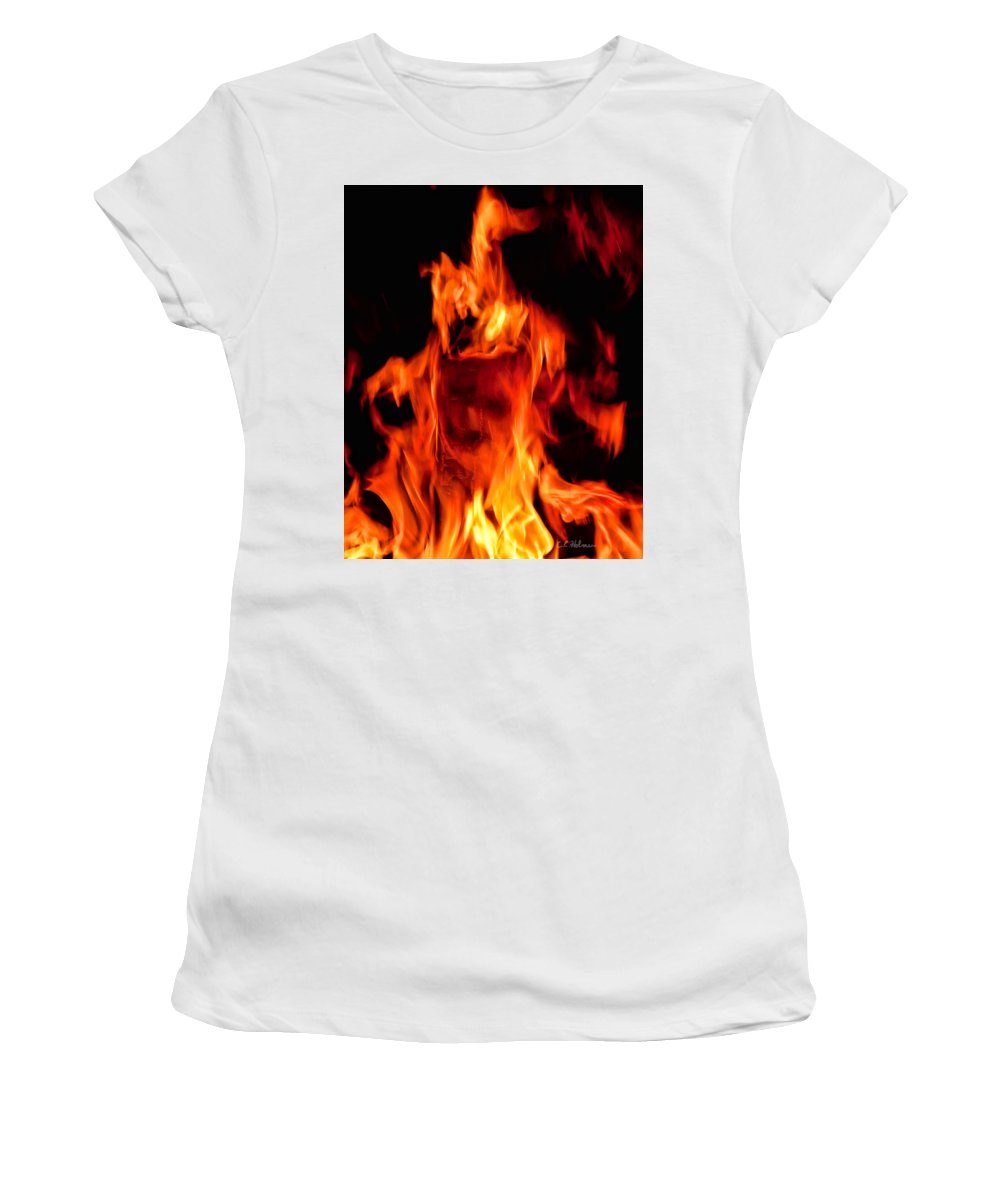 Fire Women's T-Shirt (Athletic Fit) featuring the photograph The Face Of Fire by Christopher Holmes