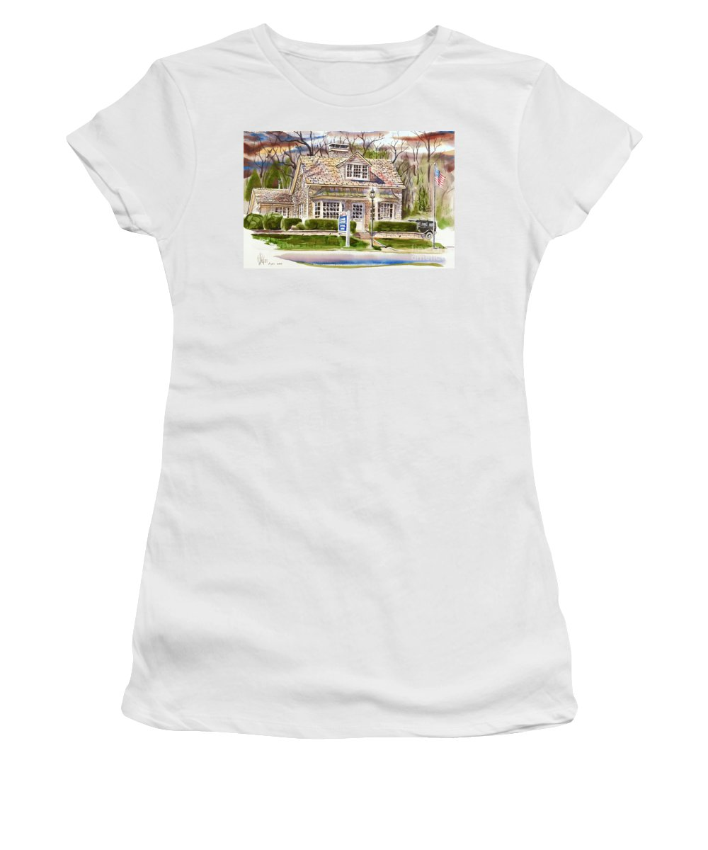 The Greystone Inn In Brigadoon Women's T-Shirt (Athletic Fit) featuring the painting The Greystone Inn In Brigadoon by Kip DeVore