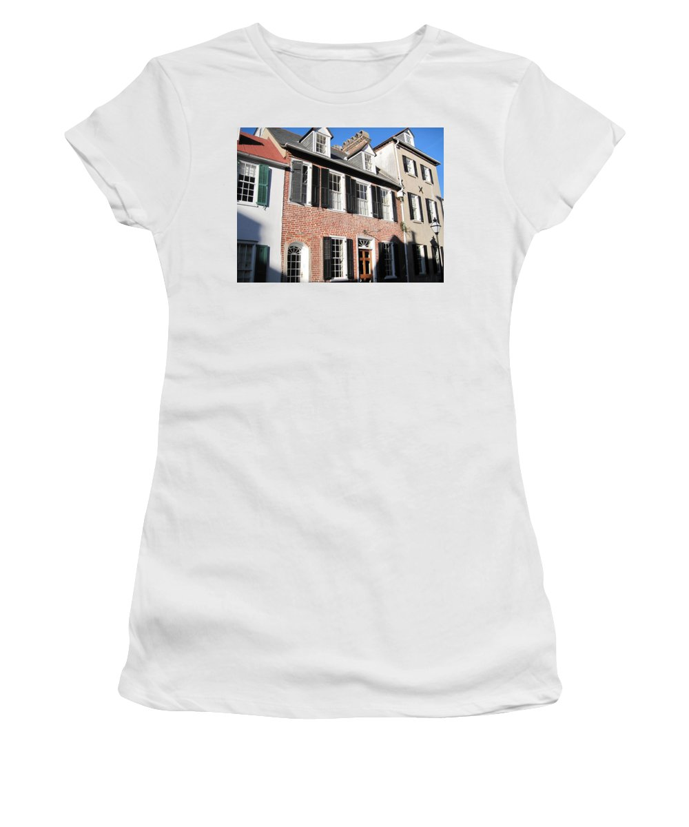 Photography Women's T-Shirt (Athletic Fit) featuring the photograph The Houses Of Charleston by Susanne Van Hulst
