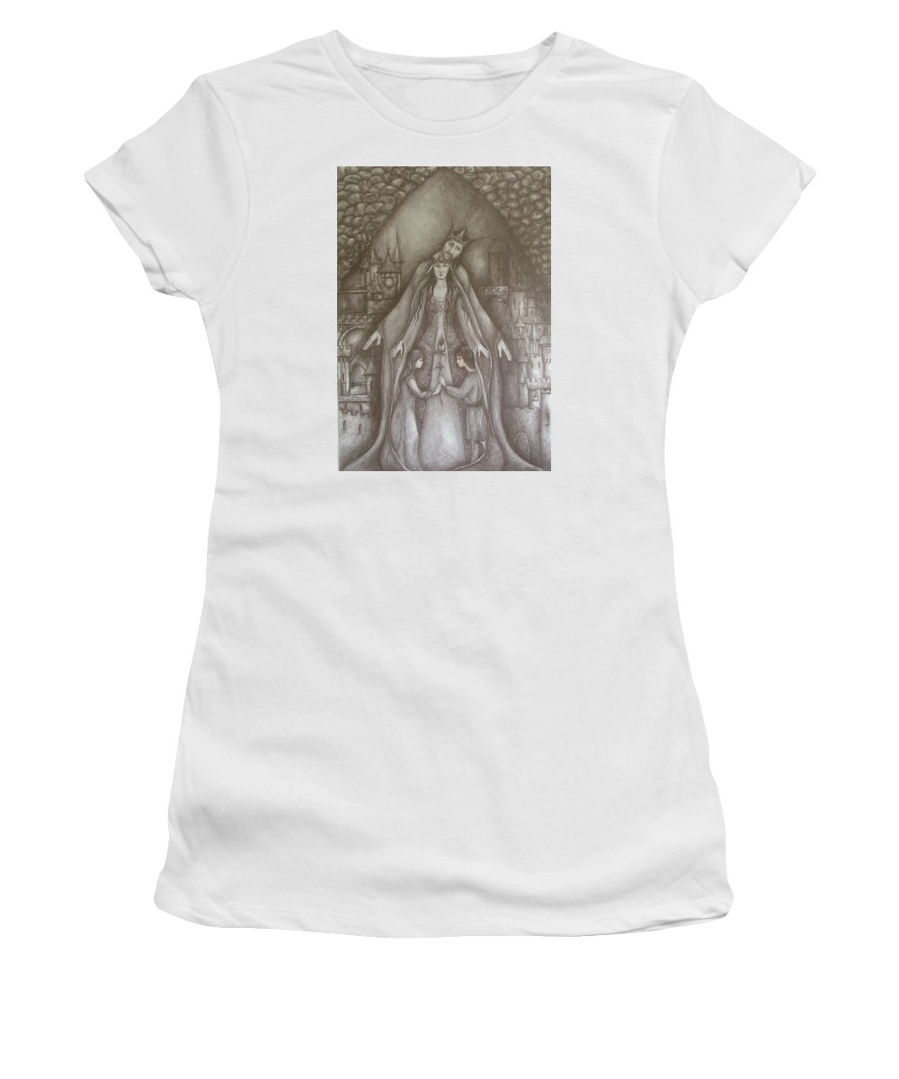 Drawing Women's T-Shirt (Athletic Fit) featuring the drawing Royal Family by Rita Fetisov