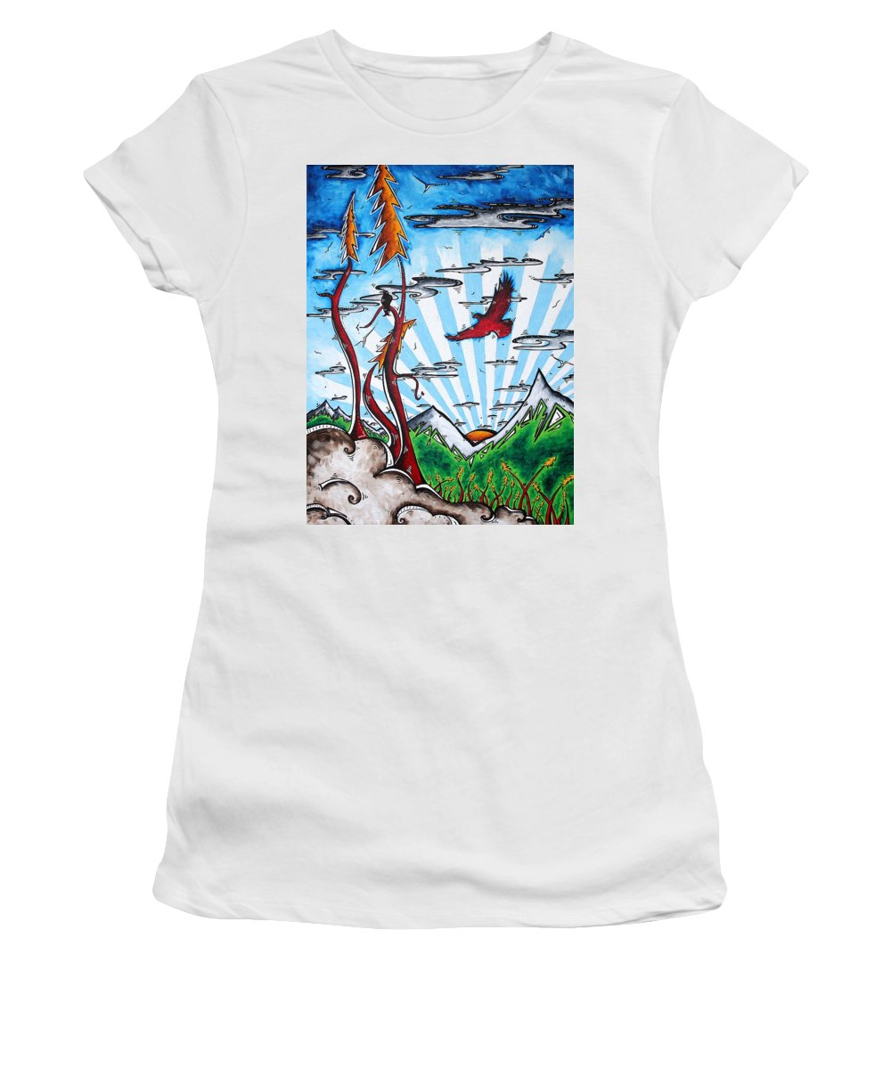 Art Women's T-Shirt (Athletic Fit) featuring the painting The Last Frontier Original Madart Painting by Megan Duncanson