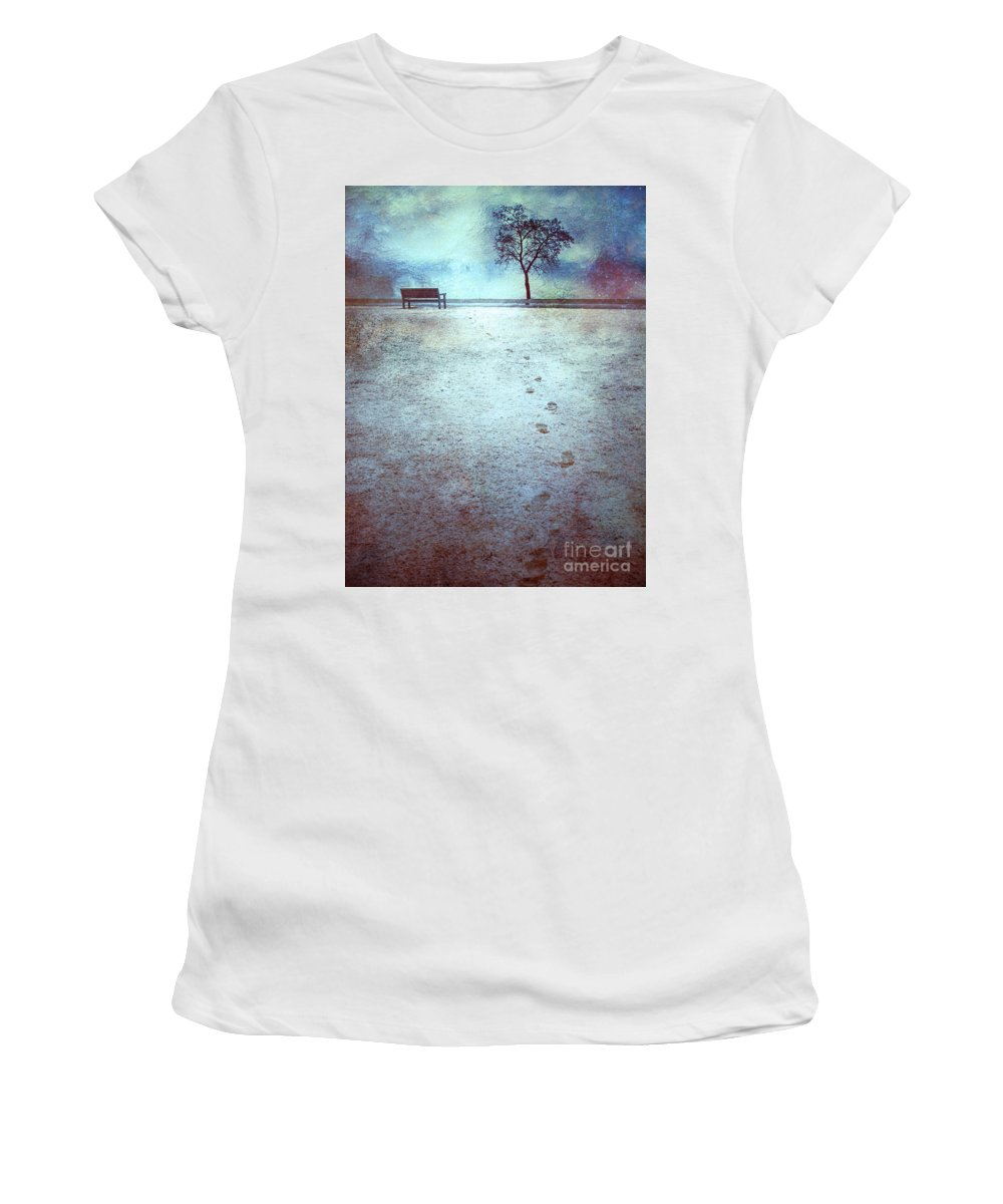Bench Women's T-Shirt (Athletic Fit) featuring the photograph The Last Snowfall by Tara Turner