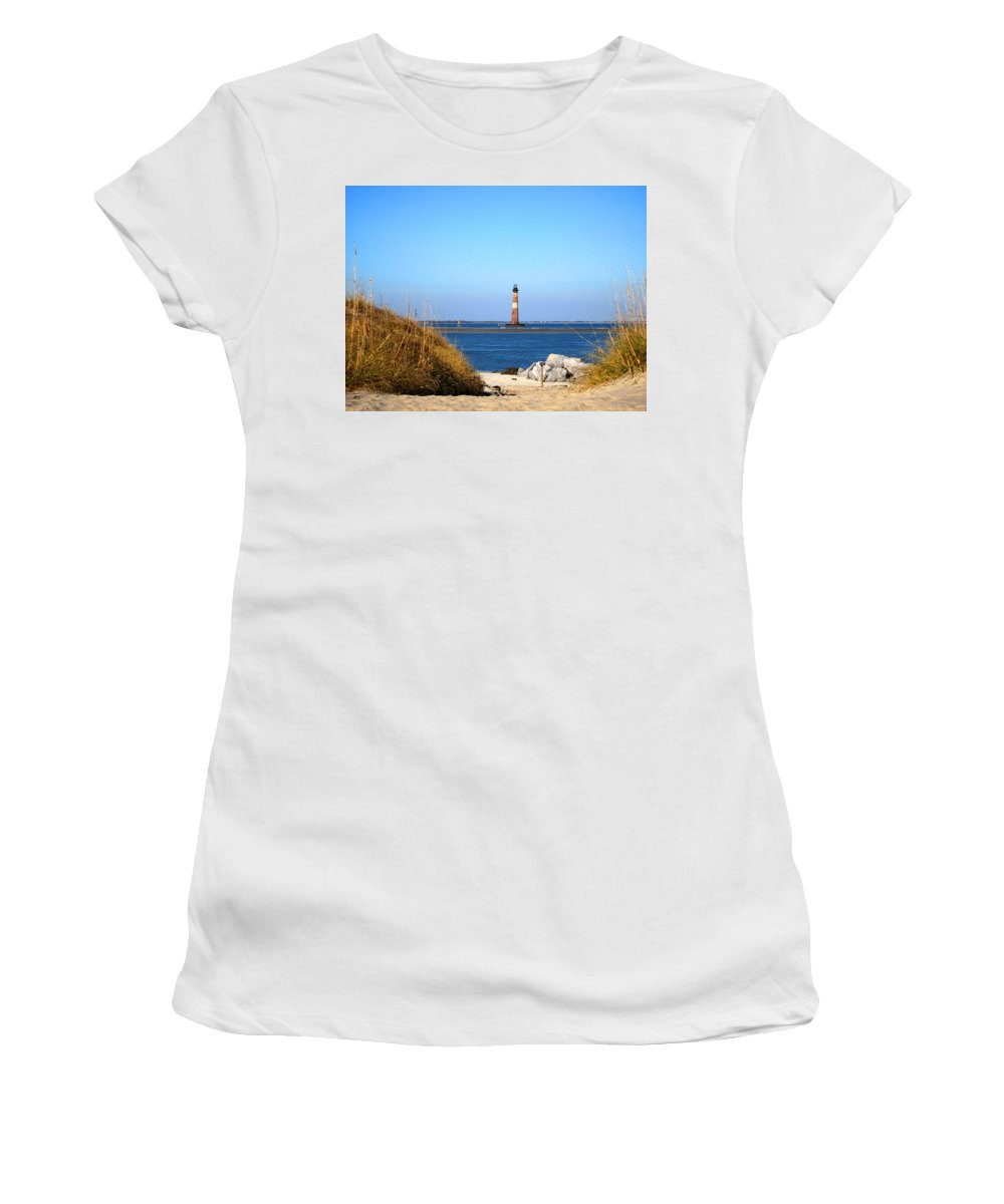 Photography Women's T-Shirt (Athletic Fit) featuring the photograph The Lighhouse At Morris Island Charleston by Susanne Van Hulst