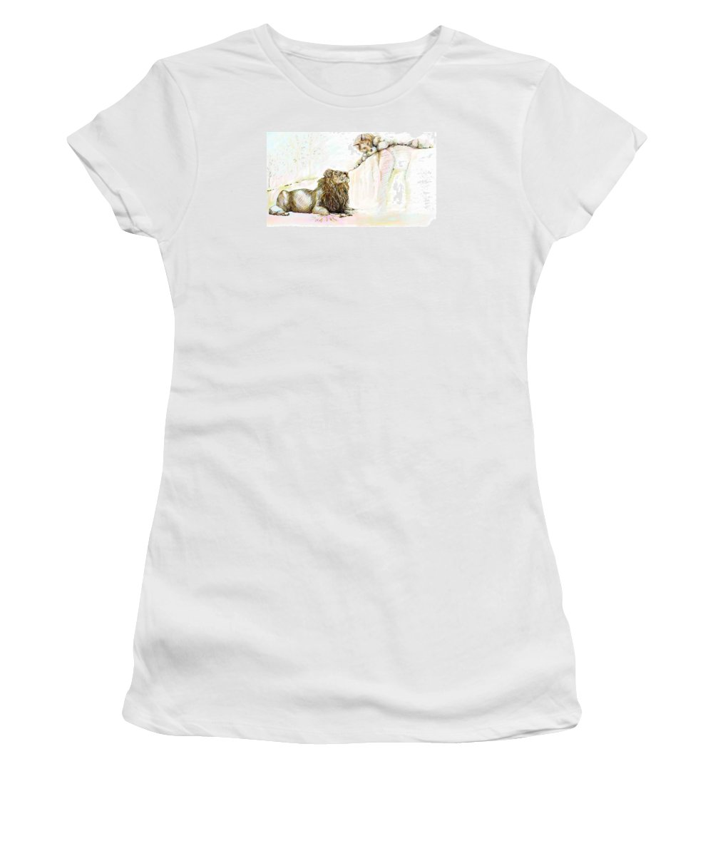 Lion Women's T-Shirt (Athletic Fit) featuring the painting The Lion And The Fox 1 - The First Meeting by Sukalya Chearanantana