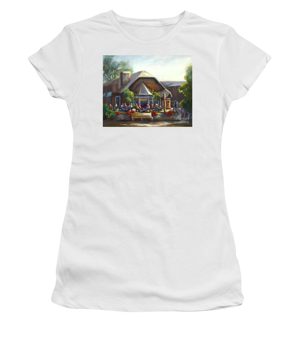 The Local Grill And Scoop Women's T-Shirt featuring the painting The Local Grill And Scoop by Sharon Abbott-Furze