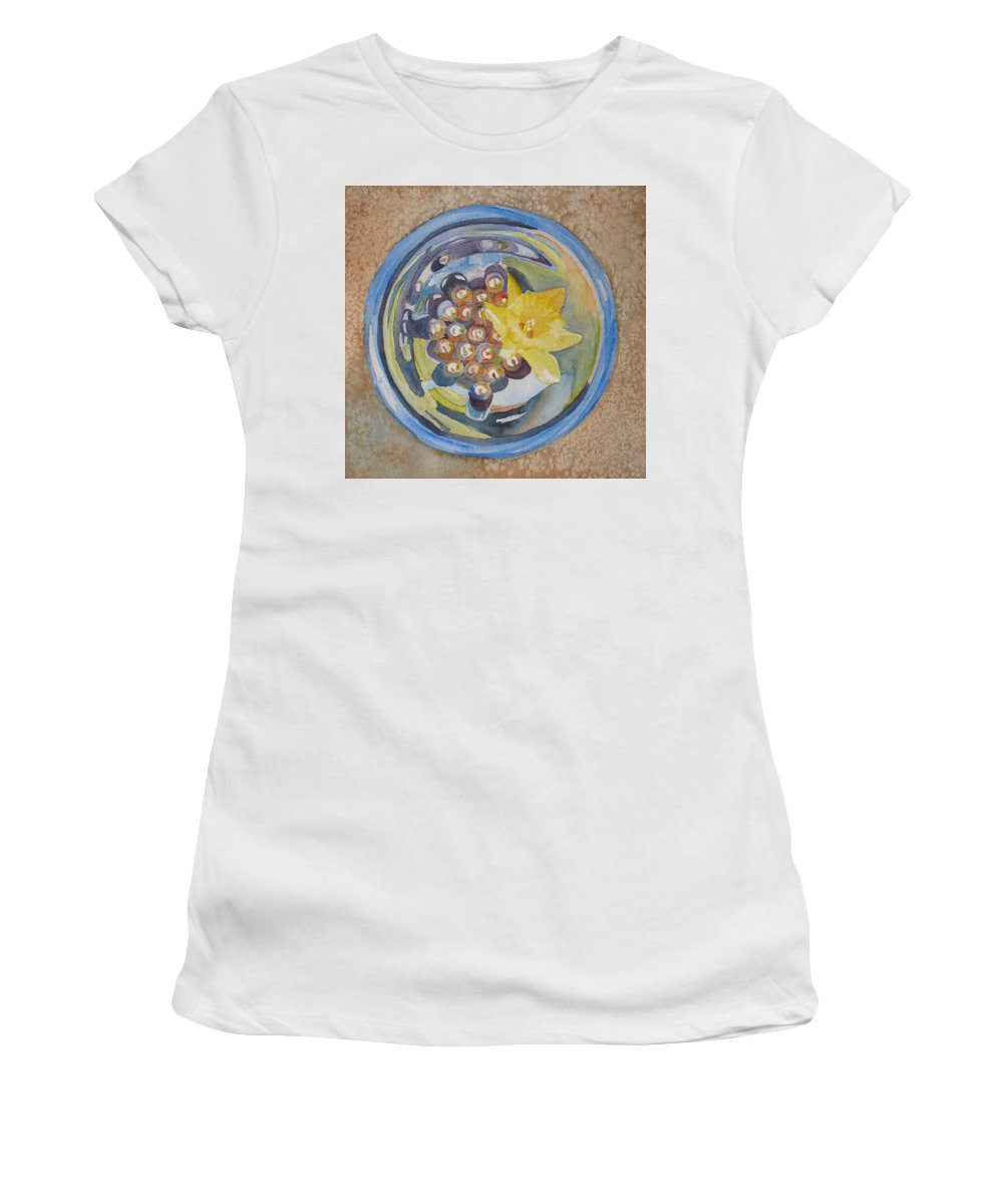 Daffodil Women's T-Shirt (Athletic Fit) featuring the painting The Magic Bowl II by Jenny Armitage