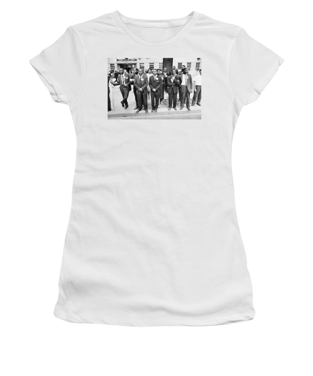 Guys Women's T-Shirt featuring the photograph The March On Washington Federal Aviation Agency Workers Watch The Marchers On Constitution Avenue by Nat Herz