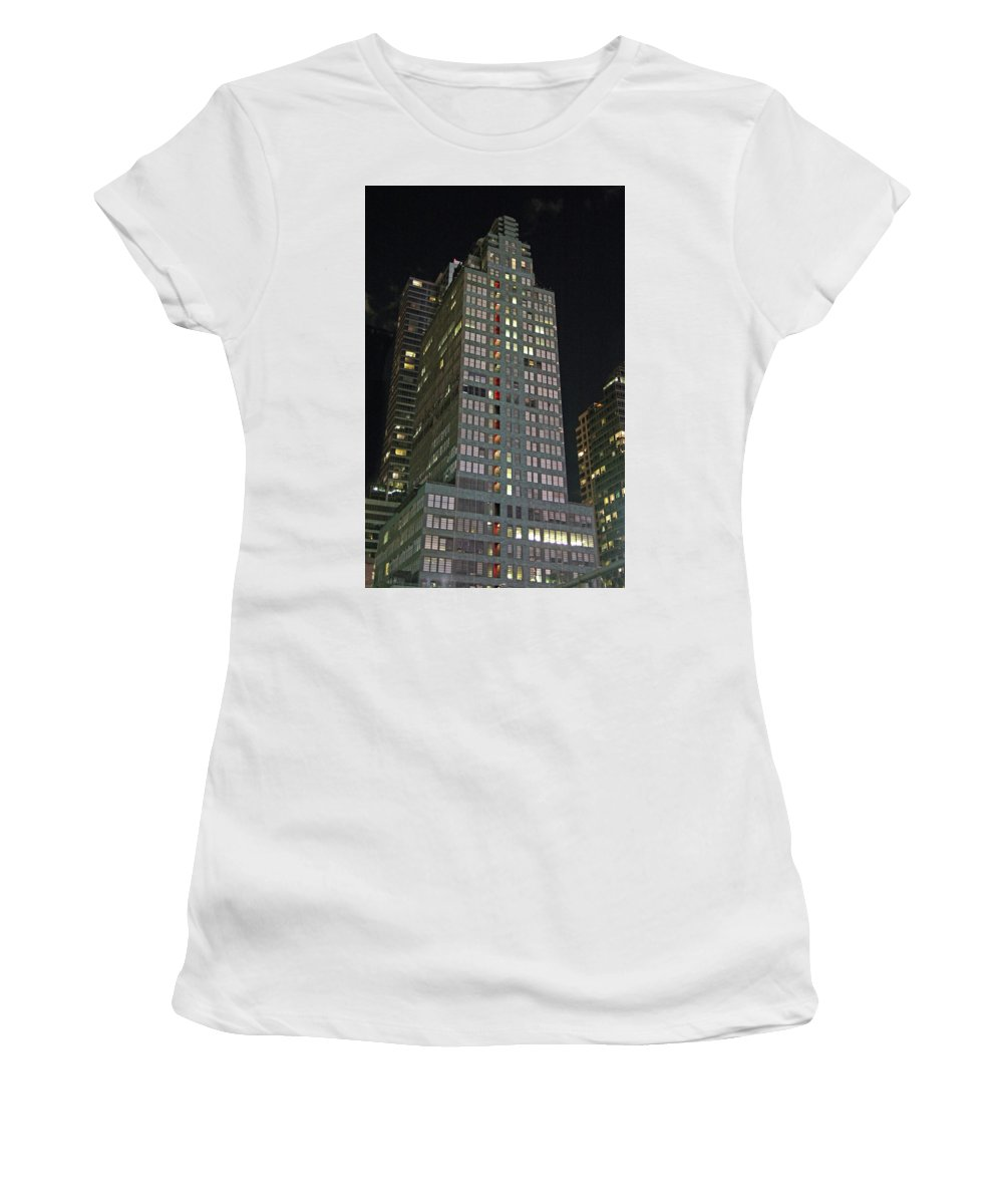Art Deco Women's T-Shirt (Athletic Fit) featuring the photograph The Mcgraw Hill Building by Guy Ciarcia
