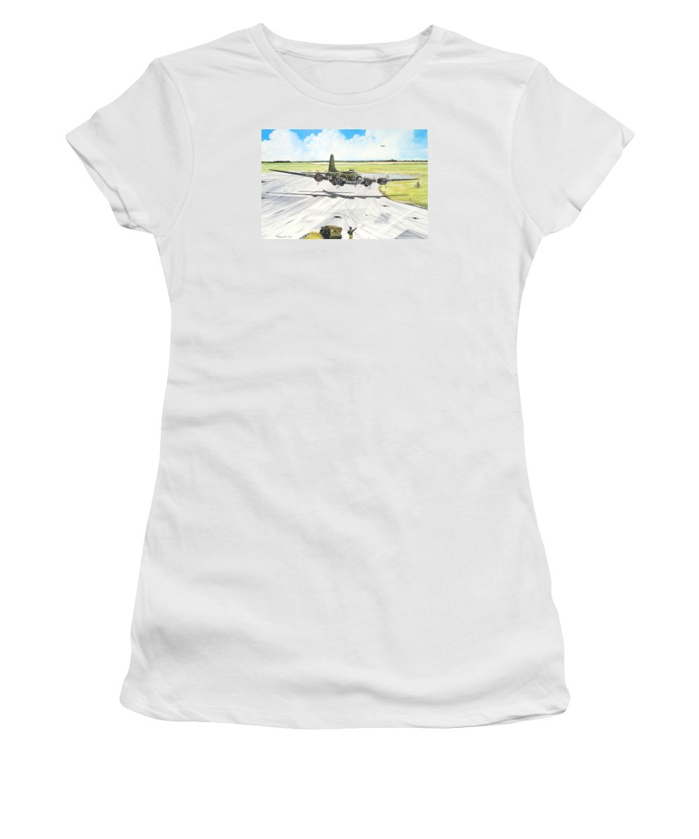 Military Women's T-Shirt (Junior Cut) featuring the painting The Memphis Belle by Marc Stewart