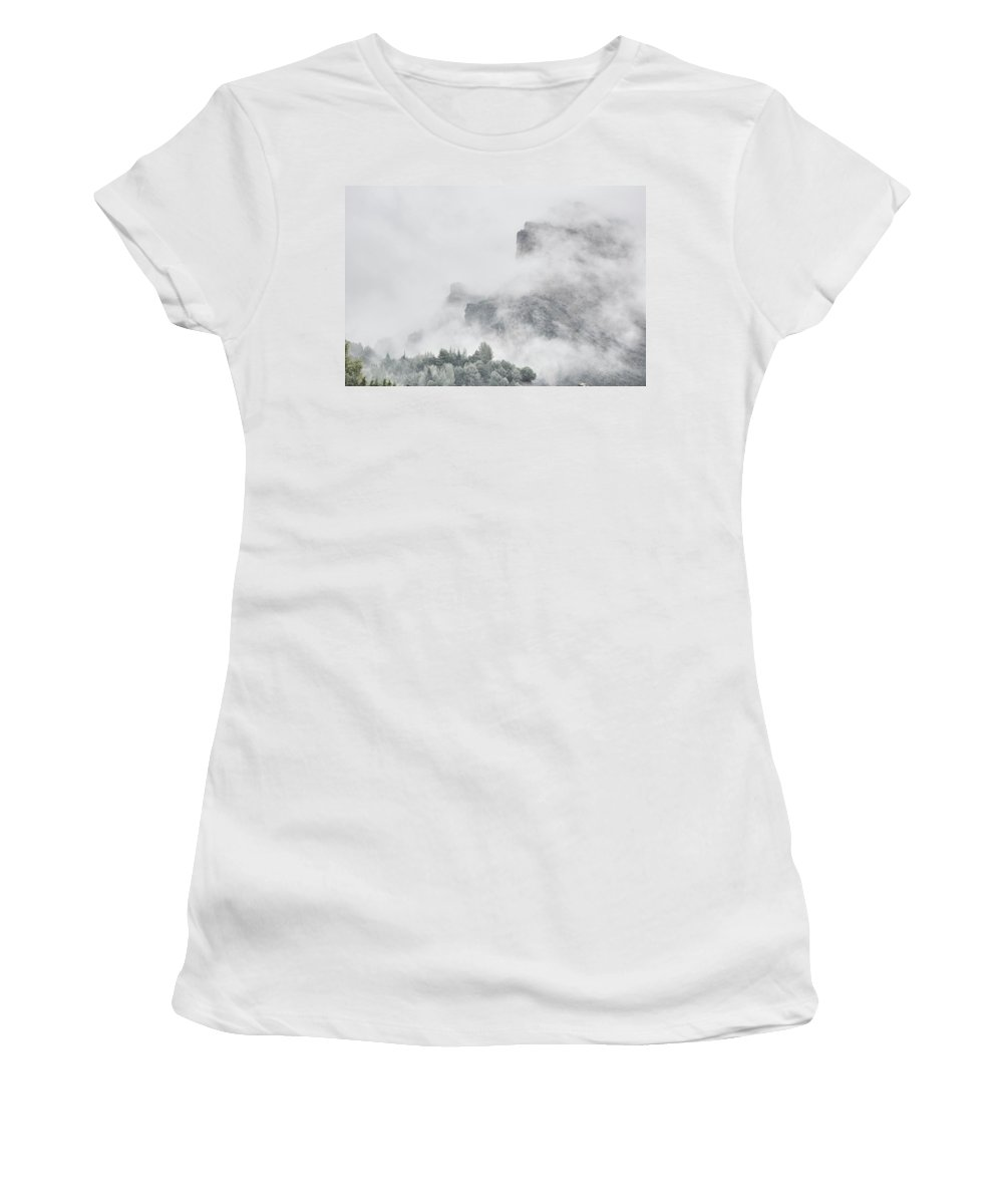 Foggy Women's T-Shirt (Athletic Fit) featuring the photograph The Mountains Are Calling To Me by Guido Montanes Castillo