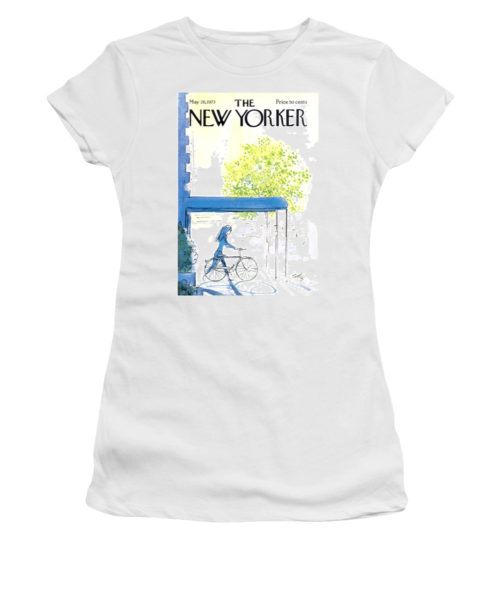 Bicycle Women's T-Shirt featuring the painting The New Yorker Cover - May 26th, 1973 by Arthur Getz