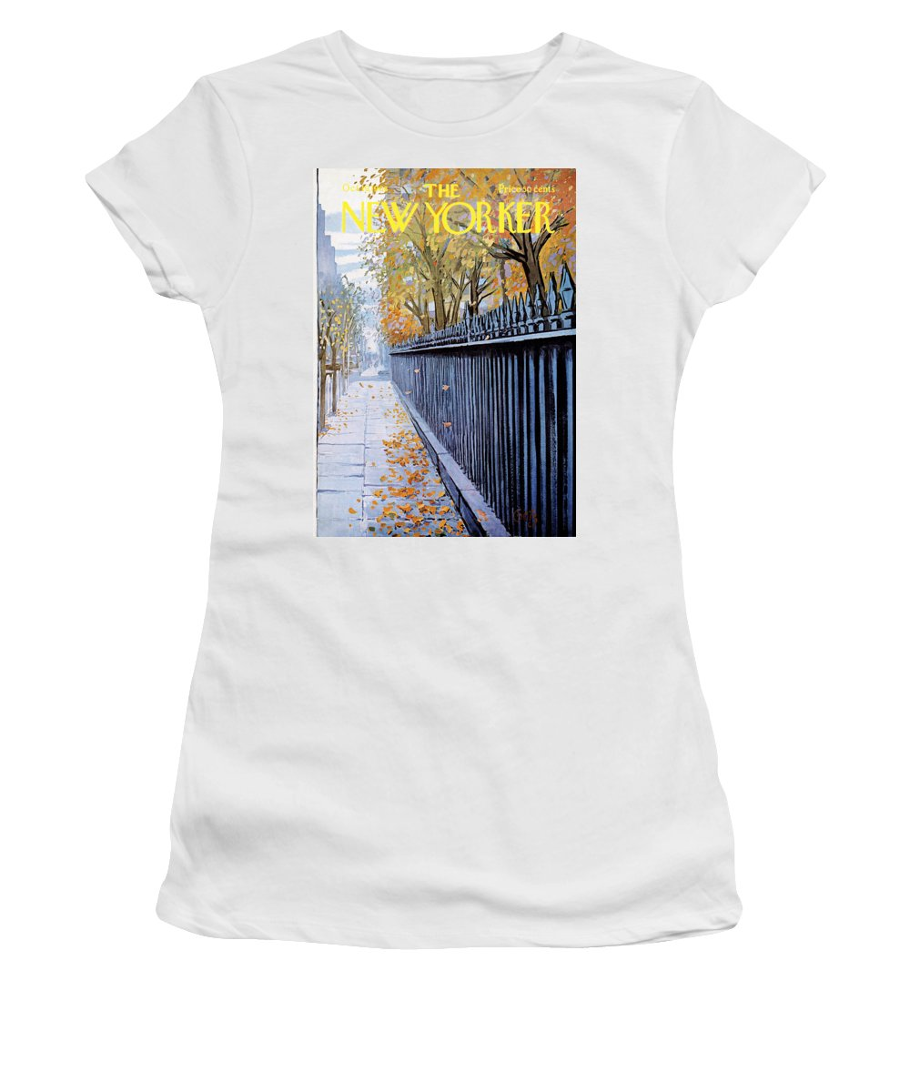 Season Women's T-Shirt featuring the painting New Yorker October 19, 1968 by Arthur Getz