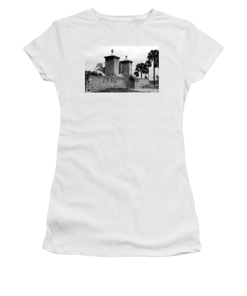 Saint Augustine Florida Women's T-Shirt (Athletic Fit) featuring the photograph The Old City Gates by David Lee Thompson