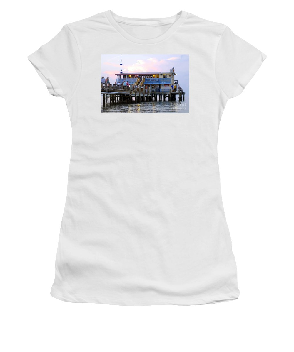 Fishing Pier Women's T-Shirt (Athletic Fit) featuring the photograph The Old Pier by David Lee Thompson