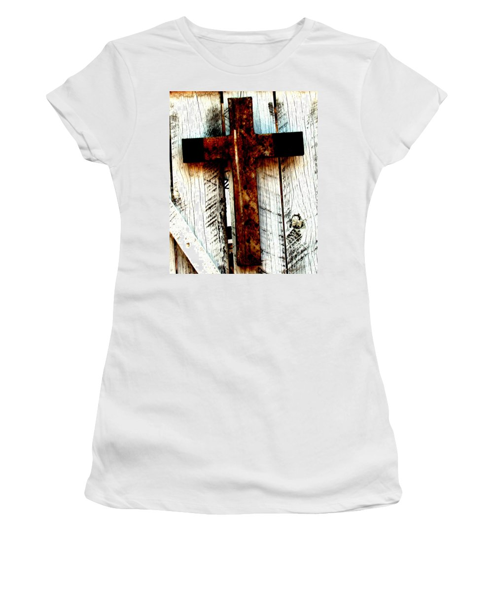 Cross Women's T-Shirt (Athletic Fit) featuring the photograph The Old Rusted Cross by Wayne Potrafka