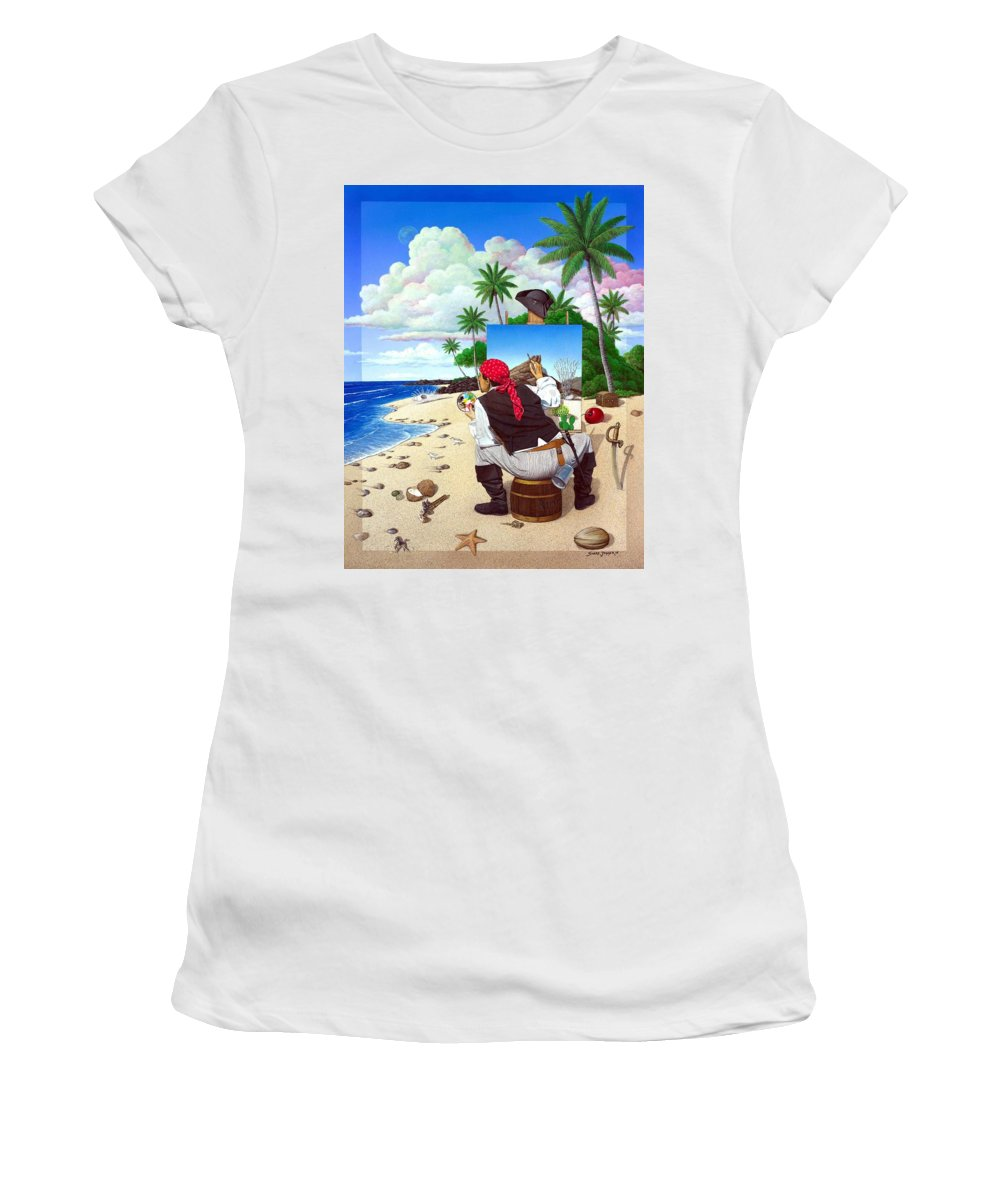 Pirate Women's T-Shirt (Athletic Fit) featuring the painting The Painting Pirate by Snake Jagger