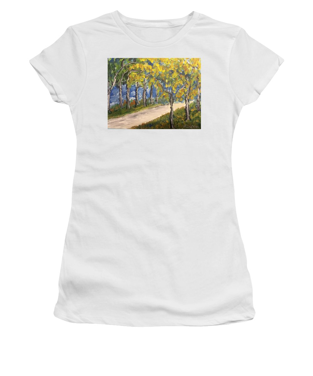 Impressionism Women's T-Shirt (Athletic Fit) featuring the painting The Path To Piccadilly by Mark Szwabo