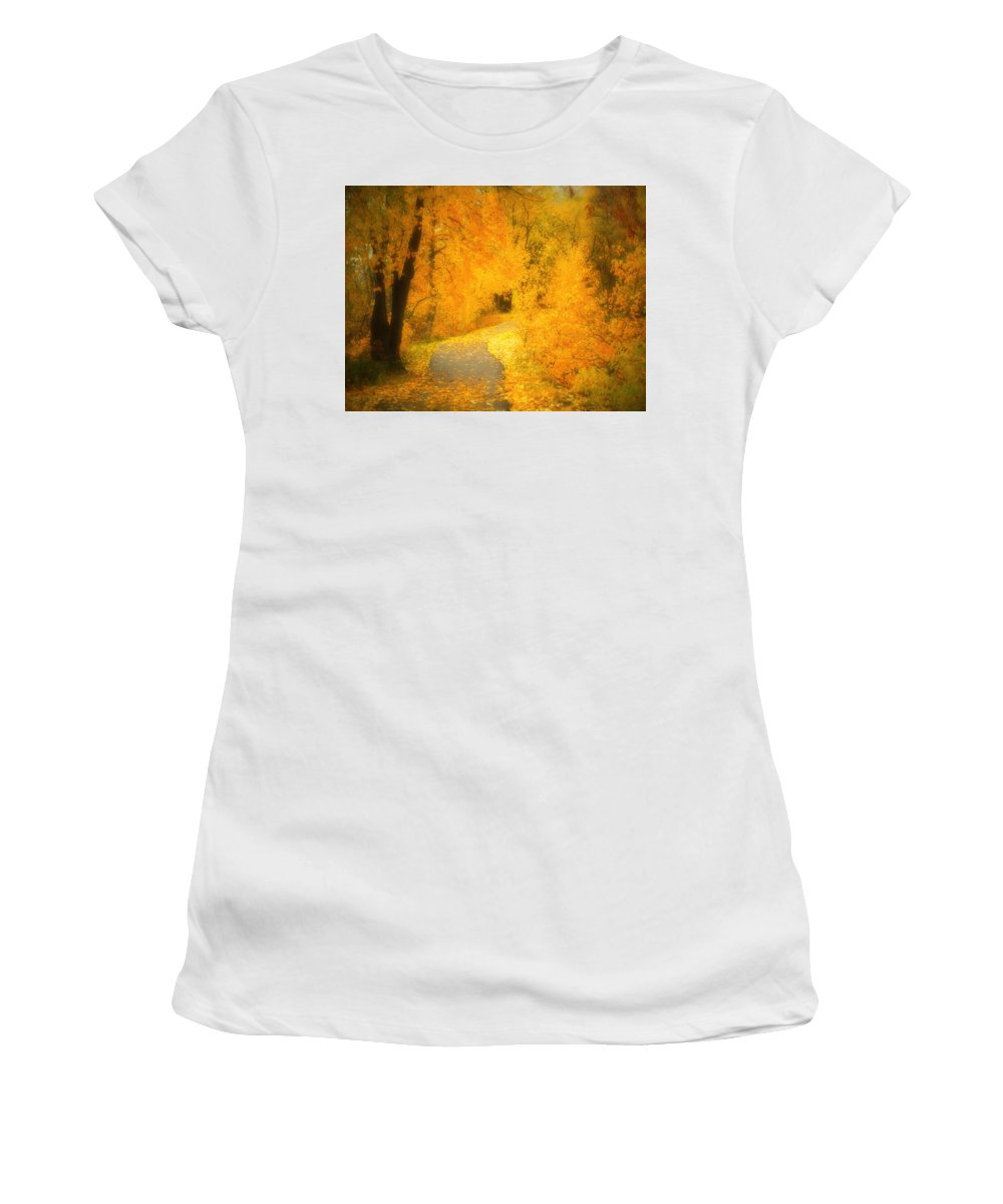 Autumn Women's T-Shirt (Athletic Fit) featuring the photograph The Pathway Of Fallen Leaves by Tara Turner