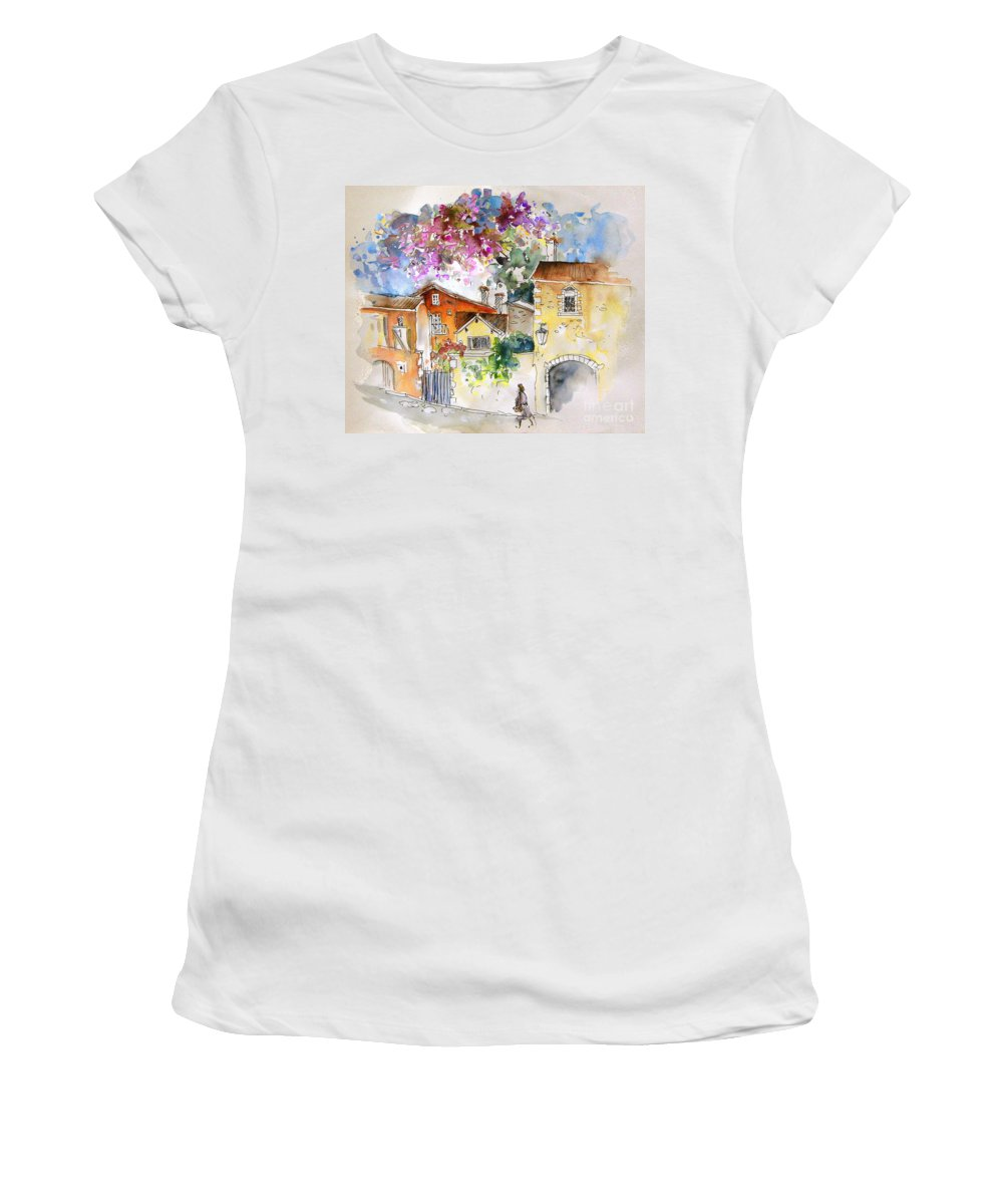 France Paintings Women's T-Shirt (Athletic Fit) featuring the painting The Perigord In France by Miki De Goodaboom