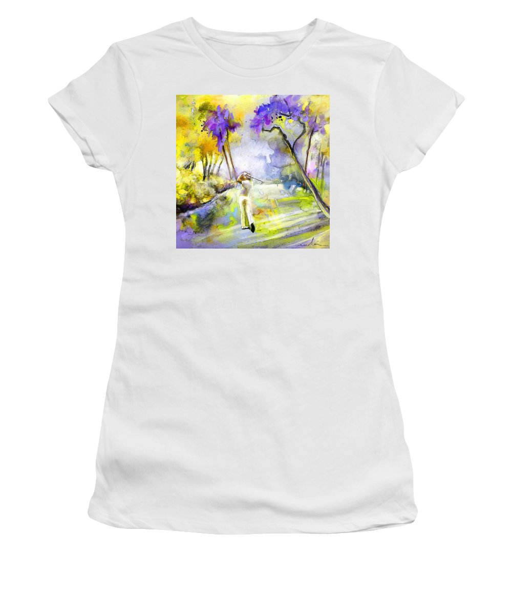 Golf Women's T-Shirt (Athletic Fit) featuring the painting The Players Championship 2010 by Miki De Goodaboom