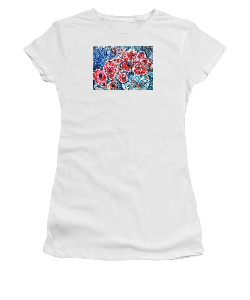Poppies Women's T-Shirt (Athletic Fit) featuring the painting The Poppies by Norma Boeckler
