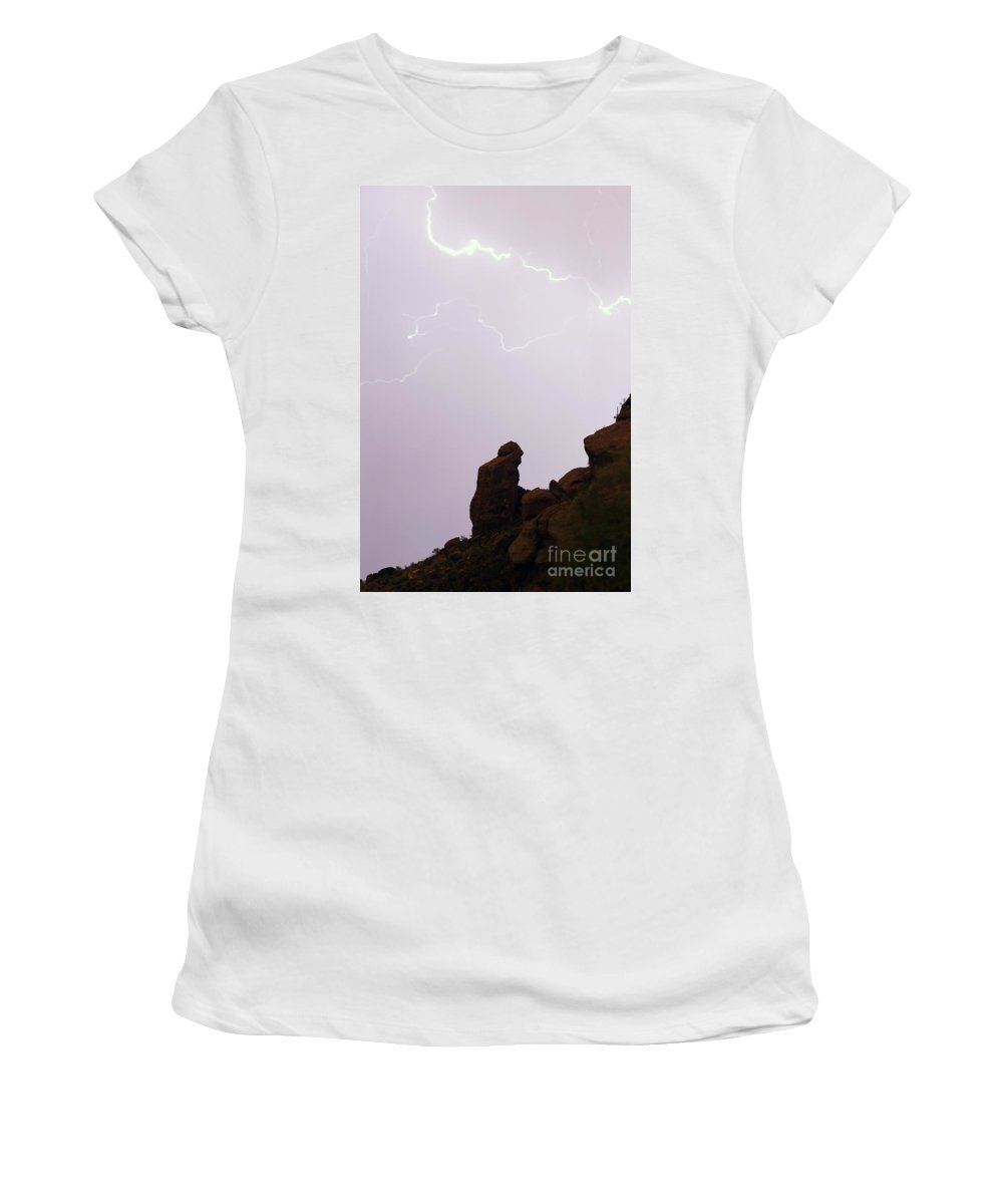 Praying Monk Women's T-Shirt (Athletic Fit) featuring the photograph The Praying Monk Phoenix Arizona by James BO Insogna
