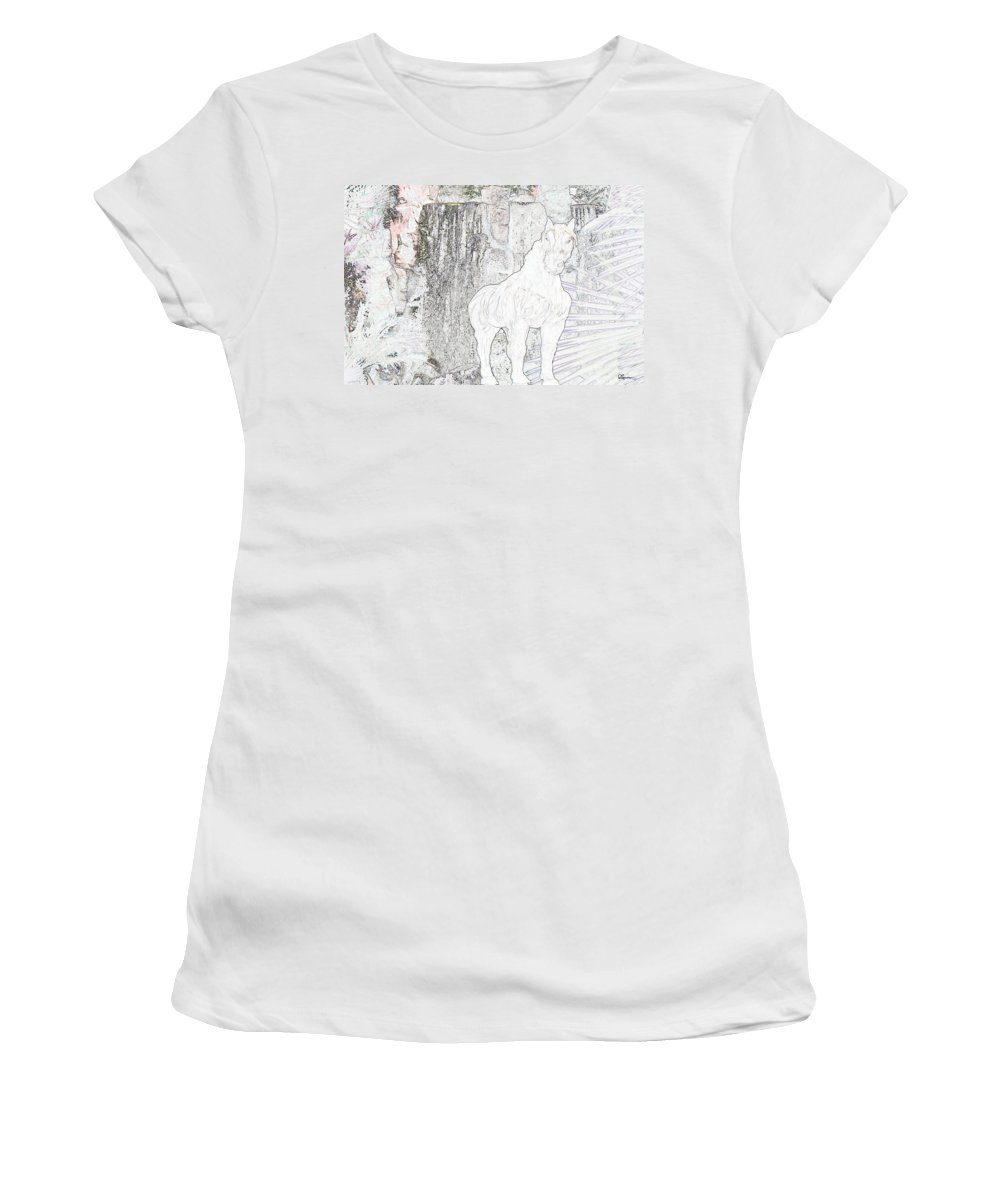 Waterfall Horse Horses Stallion Jungle Forest Scenery Trees Fantasy Women's T-Shirt (Athletic Fit) featuring the photograph The Protector by Andrea Lawrence