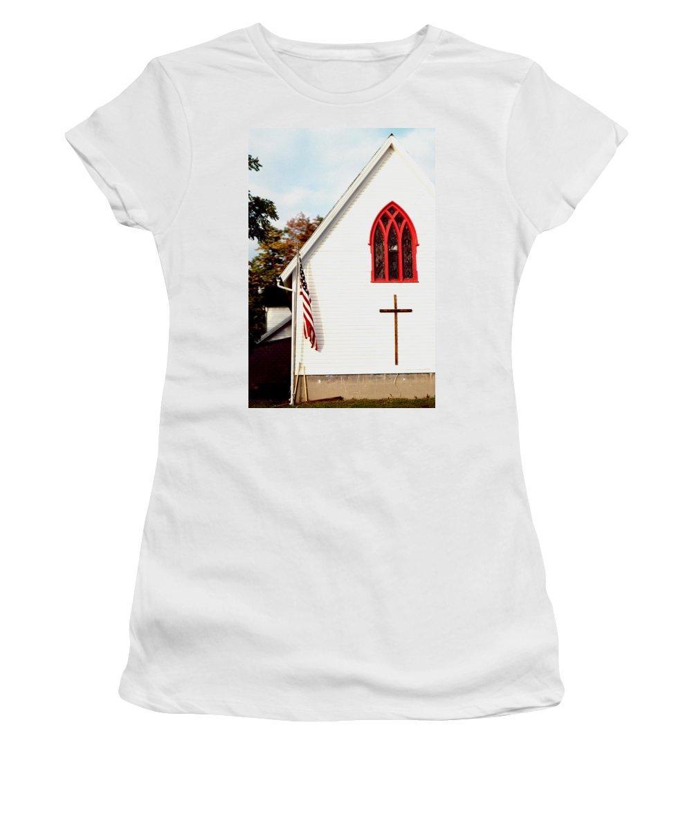 Church Women's T-Shirt featuring the photograph The Red Window by David Hohmann