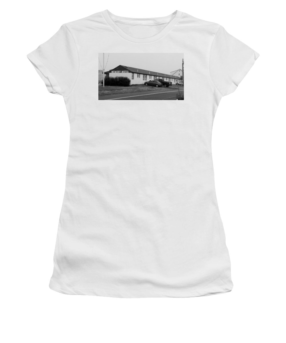 The Rolling Stones Women's T-Shirt featuring the photograph The Rolling Stones' Memory Motel Montauk New York by Rob Hans