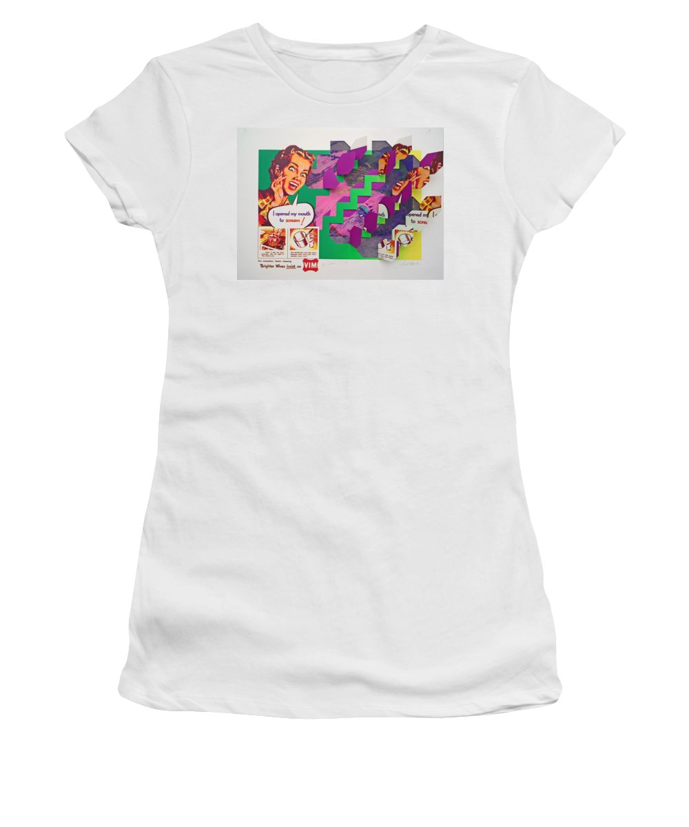 Psycho Women's T-Shirt (Athletic Fit) featuring the mixed media The Scream 3 by Charles Stuart