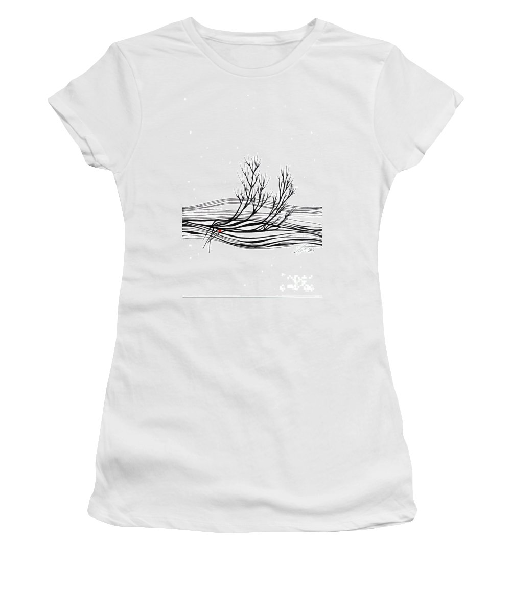 Trees Women's T-Shirt (Athletic Fit) featuring the drawing The Seed by Aniko Hencz