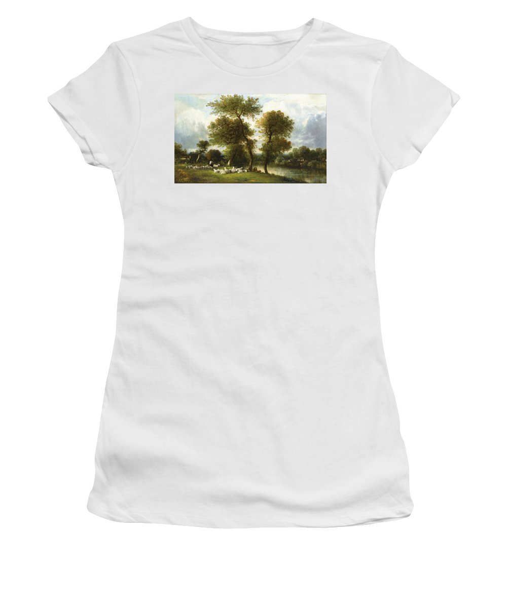 Leon-victor Dupre Women's T-Shirt (Athletic Fit) featuring the painting The Shepherd's Break With His Sheep by Leon-Victor Dupre