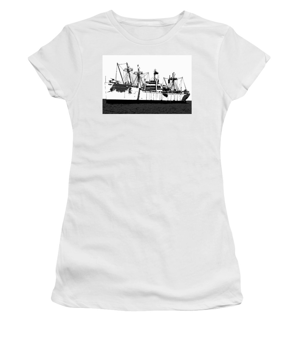 American Victory Ship Women's T-Shirt (Athletic Fit) featuring the painting The Ship by David Lee Thompson