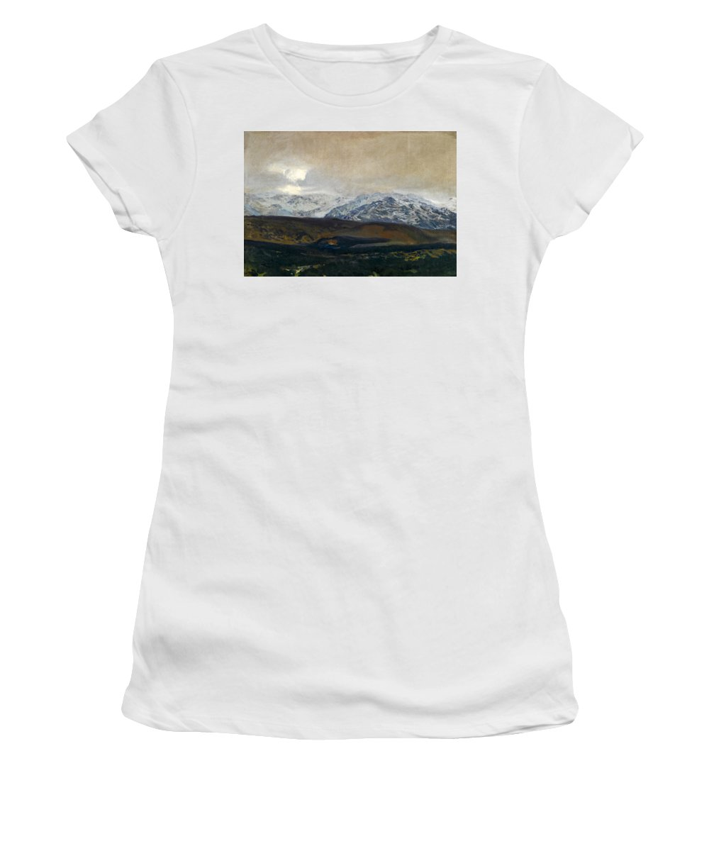 Joaquin Sorolla Y Bastida Women's T-Shirt (Athletic Fit) featuring the painting The Sierra De Guadarrama by Joaquin Sorolla y Bastida