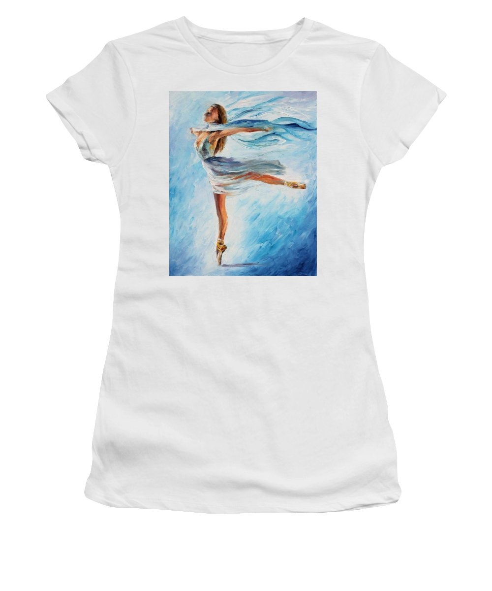 Afremov Women's T-Shirt (Athletic Fit) featuring the painting The Sky Dance by Leonid Afremov