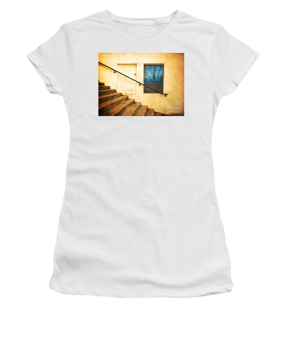Stairs Women's T-Shirt (Athletic Fit) featuring the photograph The Stairway Of Reflections by Tara Turner